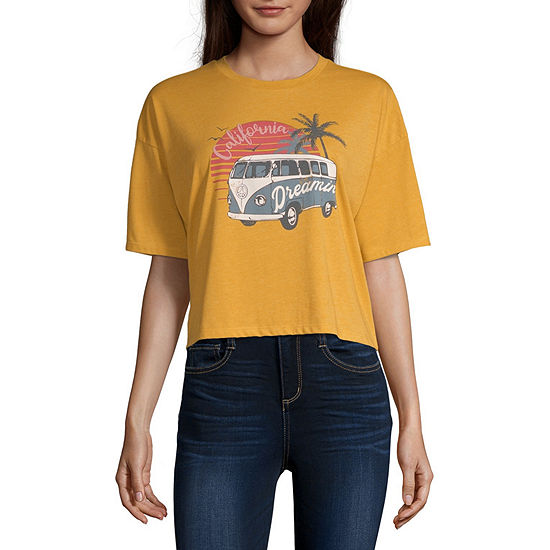 Cut And Paste-Juniors Destination Womens Crew Neck Short Sleeve Graphic T-Shirt