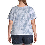 Juniors Plus Womens Round Neck Short Sleeve Graphic T-Shirt