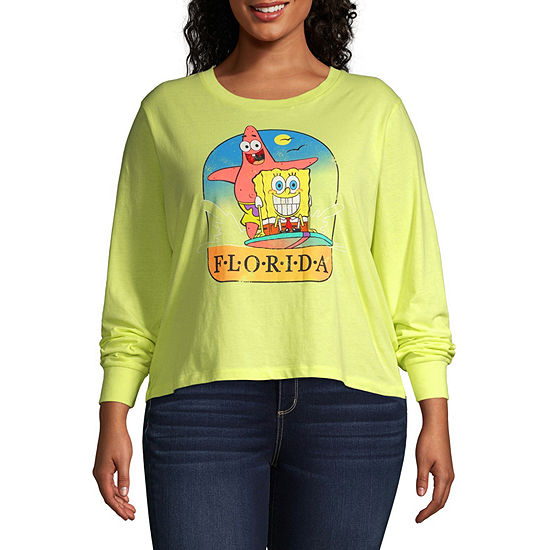 Juniors Plus Womens Round Neck Long Sleeve Spongebob Sweatshirt