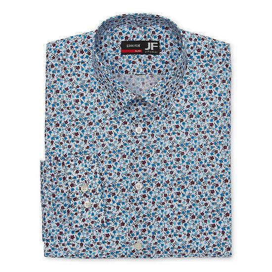 J.Ferrar - Slim Mens Spread Collar Long Sleeve Stretch Dress Shirt