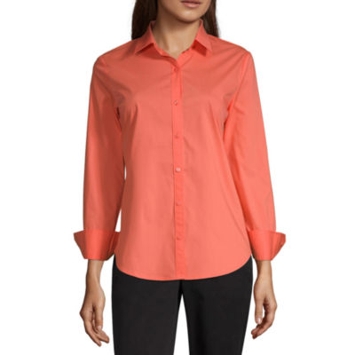 Worthington Womens Long Sleeve Modern Fit Button-Front Shirt