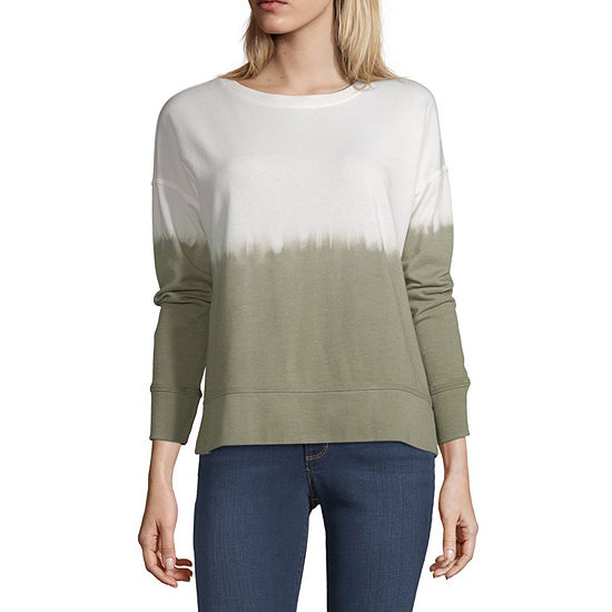 a.n.a Womens Round Neck Long Sleeve Tie Dye Pullover Sweater