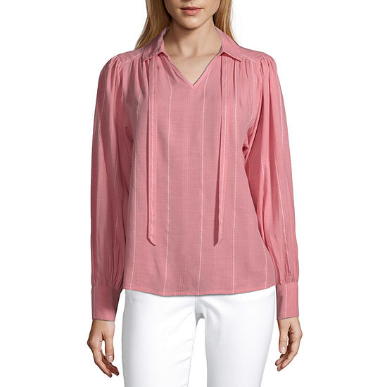 a.n.a Womens Collar Neck Long Sleeve Dobby Blouse