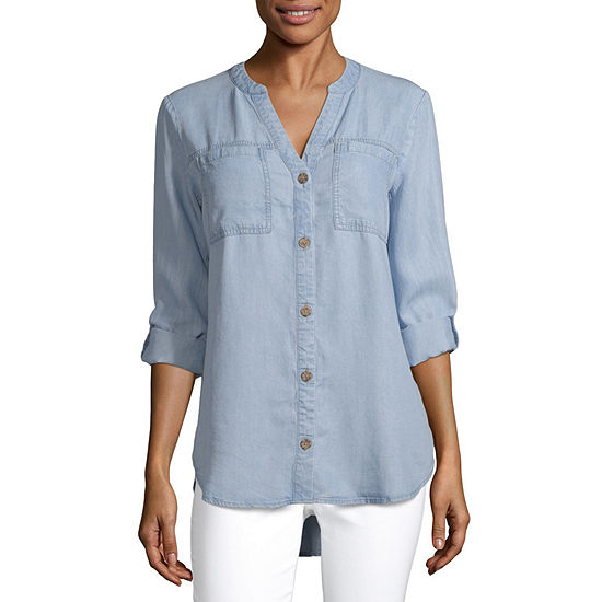 a.n.a Womens Long Sleeve Regular Fit Button-Front Shirt