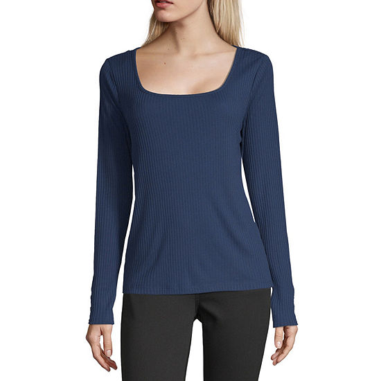 a.n.a-Womens Square Neck Long Sleeve T-Shirt