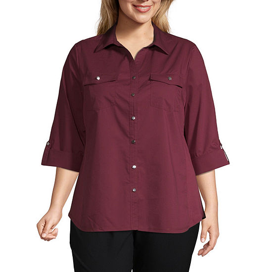 East 5th Knit to Fit Button Front Shirt- Plus