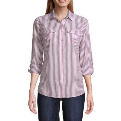 St. John's Bay Womens Long Sleeve Classic Fit Button-Down Shirt
