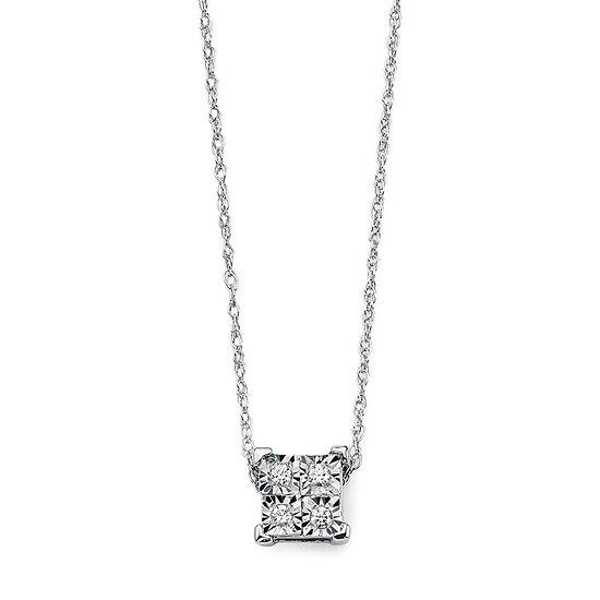 Diamond-Accent 10K White Gold Square Necklace