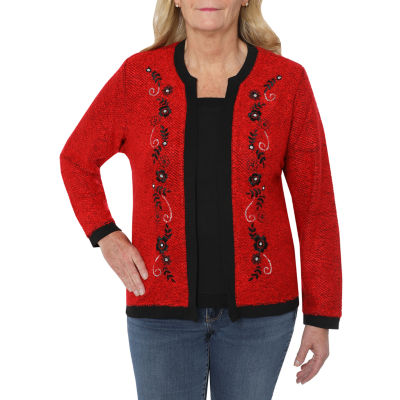 Cathy Daniels Happy Holidays Womens Crew Neck Long Sleeve Layered Sweaters