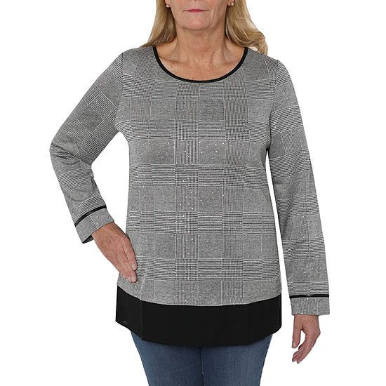 Cathy Daniels Happy Holidays Womens Crew Neck Long Sleeve Layered Top