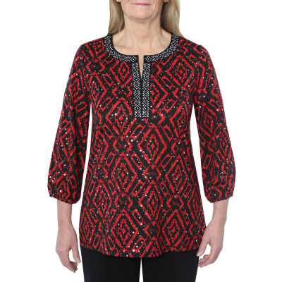 Cathy Daniels Happy Holidays Womens Split Crew Neck 3/4 Sleeve Tunic Top