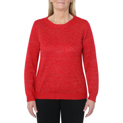 Cathy Daniels Happy Holidays Womens Boat Neck Long Sleeve Pullover Sweater