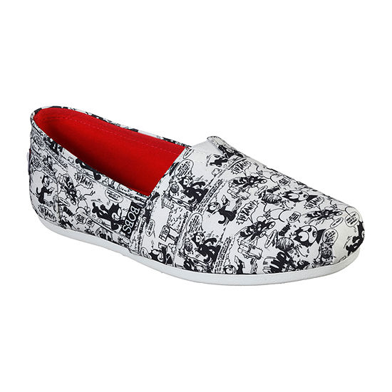 Skechers Bobs Womens Plush Vintage Thread Slip-On Shoe
