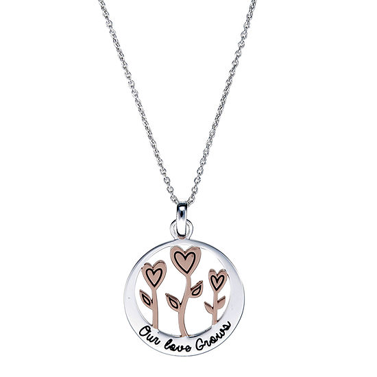 Footnotes Love Grows Sterling Silver 16 Inch Link Heart Pendant Necklace