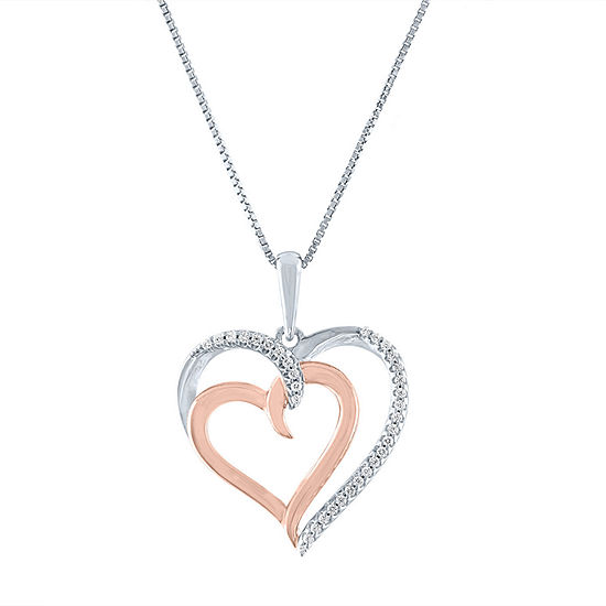 Limited Time Special! Womens 1/10 CT. T.W. Genuine Diamond 14K Rose Gold Over Silver Sterling Silver Heart Pendant Necklace