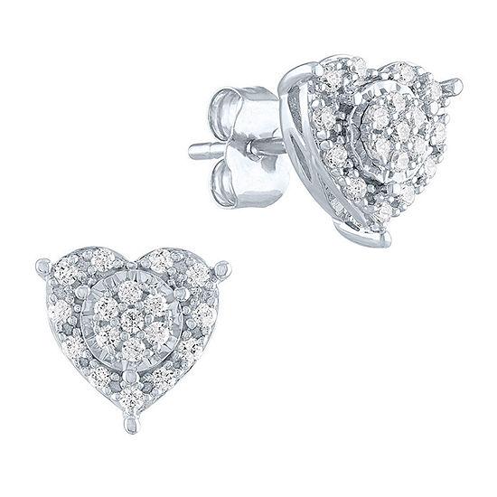 1/4 CT. T.W. Genuine Diamond Sterling Silver 9.2mm Heart Stud Earrings