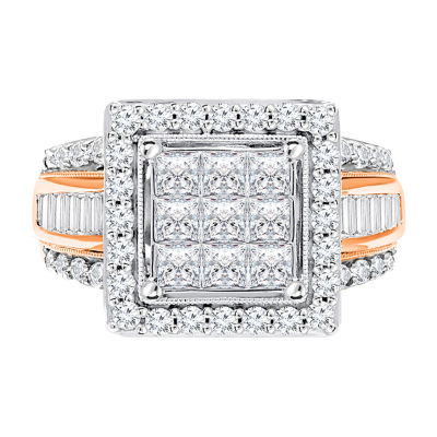 Womens 2 CT. T.W. Genuine White Diamond 10K Rose Gold Square Engagement Ring
