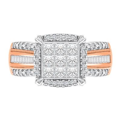 Womens 1 CT. T.W. Genuine White Diamond 10K Rose Gold Square Engagement Ring