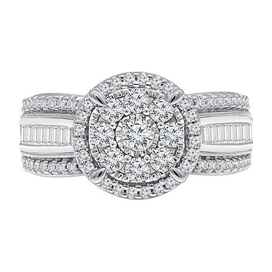 Womens 1 CT. T.W. Genuine White Diamond 10K White Gold Square Engagement Ring