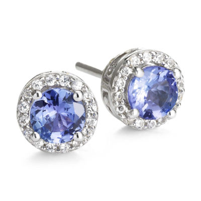 Genuine Tanzanite & Lab-Created White Sapphire Stud Earrings
