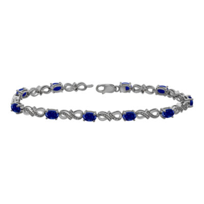 Lab-Created Sapphire and Diamond-Accent Gold Over Silver Tennis Bracelet