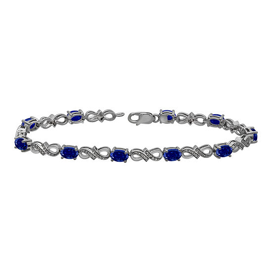 Lab Created Sapphire And Diamond Accent Sterling Silver Tennis Bracelet