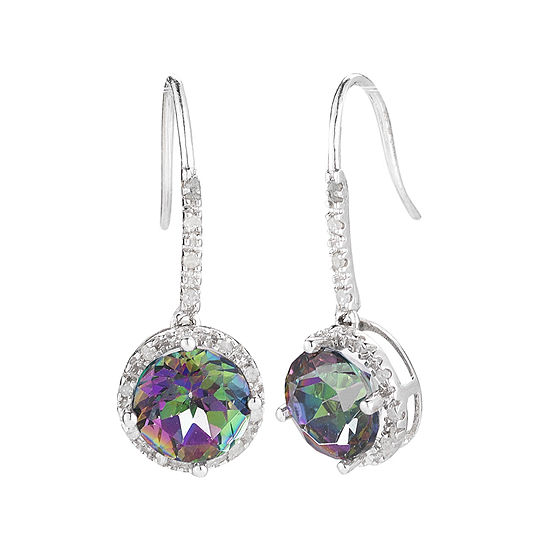 1/10 CT. T.W. Diamond & Genuine Mystic Topaz Sterling Silver Drop Earrings