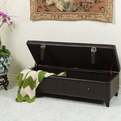 Pierce Bonded Leather Storage Bench with Straps