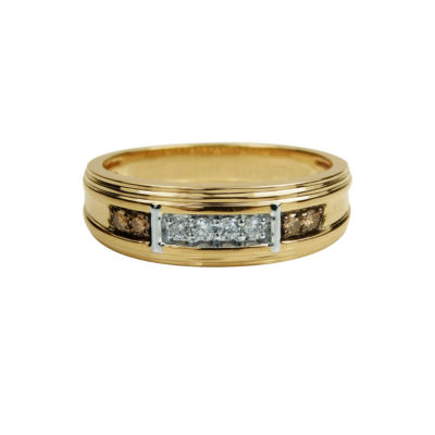 Mens 7 Mm 1/4 CT. T.W. Genuine White Diamond 10K Gold Band