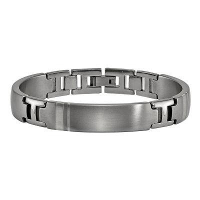 Edward Mirell Mens 8 Inch Sterling Silver Titanium Link Bracelet