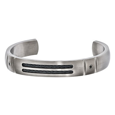 Edward Mirell Mens 1/8 CT. T.W. Black Diamond Cuff Bracelet Sterling Silver Titanium