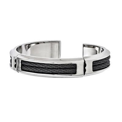 Edward Mirell Mens 8 Inch Stainless Steel Titanium Link Bracelet