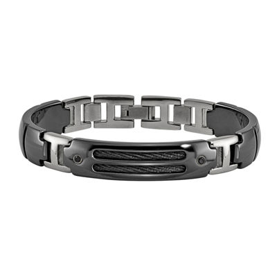 Edward Mirell Black Ti™ Sterling Silver Titanium 8 Inch Solid Link Bracelet