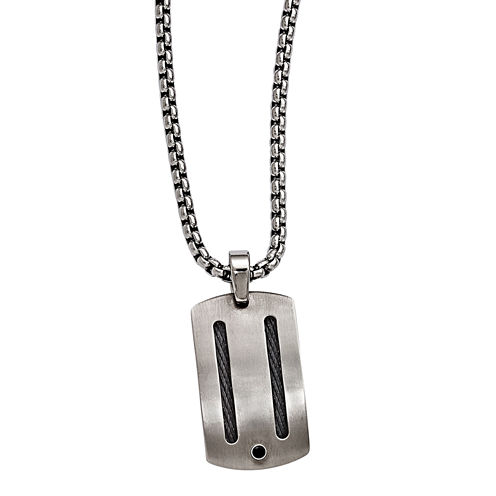 Edward Mirell Argentium® Sterling Silver Mens Black Spinel Titanium Pendant Necklace