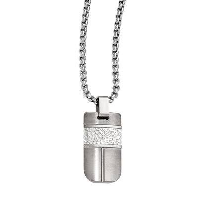 Edward Mirell Mens Stainless Steel Titanium Pendant Necklace