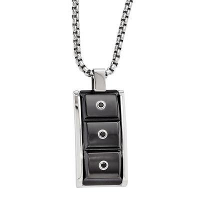 Edward Mirell Black Ti™ Mens Genuine Black Spinel Stainless Steel Titanium Pendant Necklace