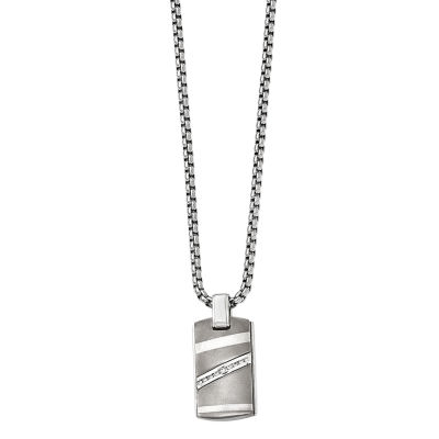 Edward Mirell Mens 1/6 CT. T.W. Genuine White Diamond Stainless Steel Titanium Pendant Necklace
