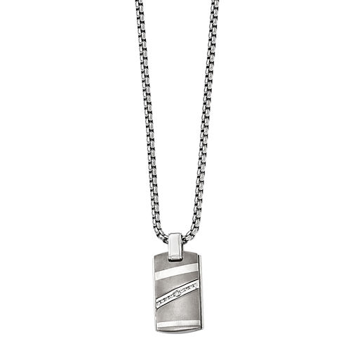 Edward Mirell Mens 1/6 CT. T.W. White Diamond Stainless Steel Titanium Pendant Necklace