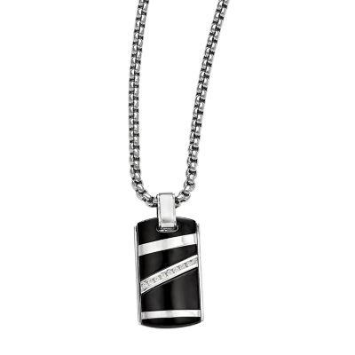 Edward Mirell Black Ti™ Mens 1/6 CT. T.W. Genuine Black Diamond Stainless Steel Titanium Pendant Necklace