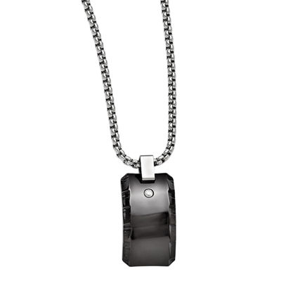 Edward Mirell Black Ti™ Mens 1/10 CT. T.W. Genuine Black Diamond Stainless Steel Titanium Pendant Necklace