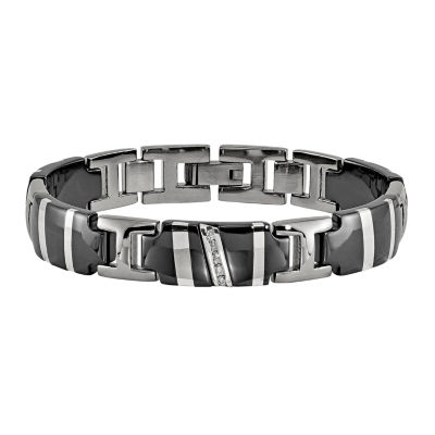 Edward Mirell Black Ti™ Mens 8.5 Inch 1/10 CT. T.W. Black Diamond Sterling Silver Titanium Link Bracelet