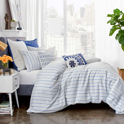 Under The Canopy Amalfi Stripe Solid Duvet Cover Set