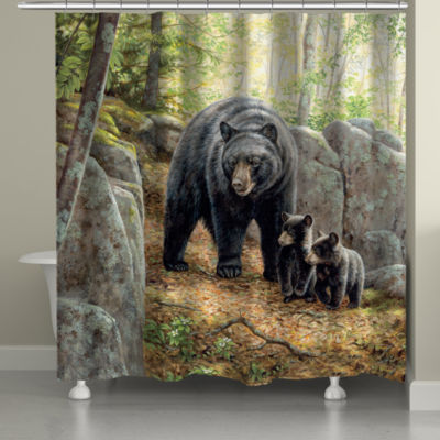 Laural Home Black Bear with Cubs Shower Curtain