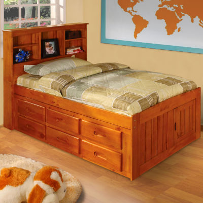 American Furniture Classics, Model 2120-12-BCH, Solid Pine Bookcase Headboard  Twin Captains Bed with 12 Underbed Drawers in Honey
