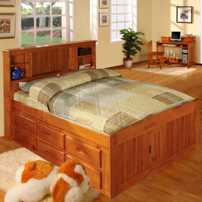 American Furniture Classics Model 2121-BCH, Solid Pine Bookcase Headboard Full with 6 drawers in Honey