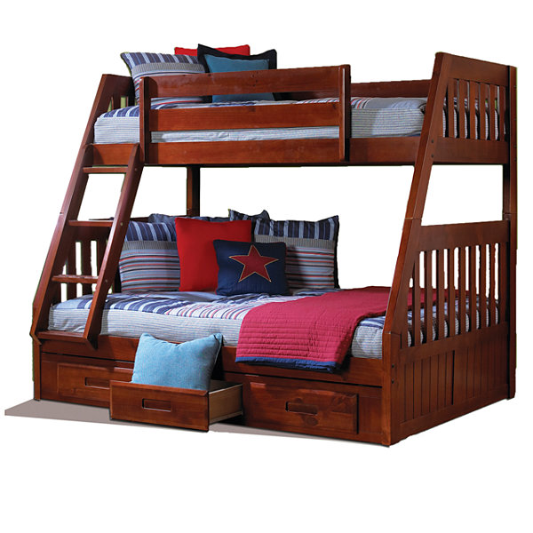 American Furniture Classics Model 2818-TFM, Solid Pine Mission Staircase Twin/Full Bunk Bed with Three Drawers in Merlot