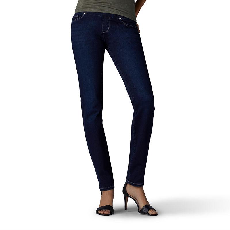 Petite Lee(R) Rebound Pull On Straight Denim Pants - Infinity 4P, Infinity -  ADULT