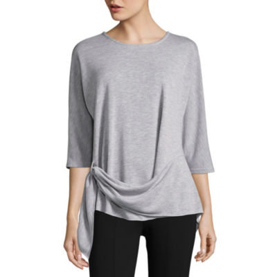 Liz Claiborne 3/4 Sleeve Tie Waist T-Shirt-Womens
