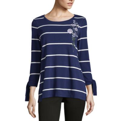 Liz Claiborne Tie Cuff Crew Neck T-Shirt-Womens