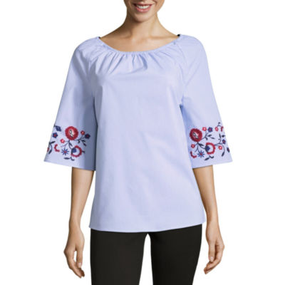 Como Blu Embroidered Bell Sleeve Woven Blouse